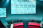 2 December 2018; A view of the panel and groups during the UEFA EURO2020 Qualifying Draw at the Convention Centre in Dublin. Photo by Sam Barnes/Sportsfile