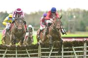 2 December 2018; Chief Justice, right, with Davy Russell up, jumps the last with second place Coeur Sublime, with Bryan Cooper up, on their way to winning the #30 Free Bet BARONERACING.COM Juvenile Hurdle during the Sunday of the Fairyhouse Winter Festival at Fairyhouse Racecourse in Meath. Photo by Matt Browne/Sportsfile