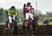 2 December 2018; Delta Work, right, with Davy Russell up, jumps the last on their way to winning the BARONERACING.COM Drinmore Novice Steeplechase from second place Le Richebourg with Barry Geraghty  during the Sunday of the Fairyhouse Winter Festival at Fairyhouse Racecourse in Meath. Photo by Matt Browne/Sportsfile