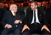 2 December 2018; President Michael D Higgins, left, in conversation with UEFA President Aleksander Ceferin during the UEFA EURO2020 Qualifying Draw at the Convention Centre in Dublin. (Photo by Stephen McCarthy / UEFA via Sportsfile)