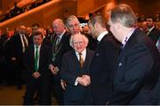 2 December 2018; President Michael D Higgins, left, is greeted by UEFA President Aleksander Ceferin during the UEFA EURO2020 Qualifying Draw at the Convention Centre in Dublin. (Photo by Stephen McCarthy / UEFA via Sportsfile)