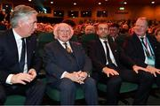 2 December 2018; Attendees John Delaney, CEO, Football Association of Ireland, President of Ireland Michael D Higgins, UEFA President Aleksander Ceferin and UEFA Vice-President Karl-Erik Nilsson prior to the UEFA EURO2020 Qualifying Draw at the Convention Centre in Dublin. (Photo by Harold Cunningham / UEFA via Sportsfile)