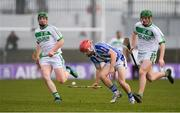 2 December 2018; Niall McMorrow of Ballyboden St Enda's in action against Evan Shefflin, left, and Eoin Cody of Ballyhale Shamrocks during the AIB Leinster GAA Hurling Senior Club Championship Final match Ballyboden St Enda's and Ballyhale Shamrocks at Netwatch Cullen Park in Carlow. Photo by Piaras Ó Mídheach/Sportsfile
