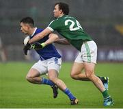 2 December 2018; Shane Carey of Scotstown in action against Eamonn McGee of Gaoth Dobhair during the AIB Ulster GAA Football Senior Club Championship Final match between Gaoth Dobhair and Scotstown at Healy Park in Tyrone. Photo by Oliver McVeigh/Sportsfile