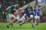 2 December 2018; Darren Hughes of Scotstown in action against Michael Carroll and Eamonn McGee of Gaoth Dobhair during the AIB Ulster GAA Football Senior Club Championship Final match between Gaoth Dobhair and Scotstown at Healy Park in Tyrone. Photo by Oliver McVeigh/Sportsfile