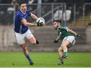 2 December 2018; Shane Carey of Scotstown in action against Naoise O'Baoill of Gaoth Dobhair during the AIB Ulster GAA Football Senior Club Championship Final match between Gaoth Dobhair and Scotstown at Healy Park in Tyrone. Photo by Oliver McVeigh/Sportsfile