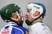 2 December 2018; TJ Reid of Ballyhale Shamrocks has words with Simon Lambert of Ballyboden St Enda's during the AIB Leinster GAA Hurling Senior Club Championship Final match Ballyboden St Enda's and Ballyhale Shamrocks at Netwatch Cullen Park in Carlow. Photo by Piaras Ó Mídheach/Sportsfile