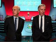 2 December 2018; Republic of Ireland manager Mick McCarthy, left, and John Delaney, CEO, Football Association of Ireland following the UEFA EURO2020 Qualifying Draw at the Convention Centre in Dublin. (Photo by Stephen McCarthy / UEFA via Sportsfile)