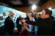 2 December 2018; Republic of Ireland head coach Mick McCarthy during post draw flash reactions following the UEFA EURO2020 Qualifying Draw at the Convention Centre in Dublin. (Photo by Stephen McCarthy / UEFA via Sportsfile)