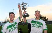 2 December 2018; Brothers Colin Fennelly, left, and Michael Fennelly of Ballyhale Shamrocks celebrate with the cup after the AIB Leinster GAA Hurling Senior Club Championship Final match Ballyboden St Enda's and Ballyhale Shamrocks at Netwatch Cullen Park in Carlow. Photo by Piaras Ó Mídheach/Sportsfile
