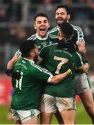 2 December 2018; Gaoth Dobhair players Michael Carroll, Odhran MacNaillais, Naoise O'Baoill and Odhran McFadden-Ferry celebrate after the AIB Ulster GAA Football Senior Club Championship Final match between Gaoth Dobhair and Scotstown at Healy Park in Tyrone. Photo by Oliver McVeigh/Sportsfile