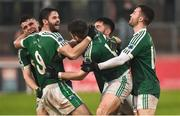 2 December 2018; Gaoth Dobhair players Odhran McFadden-Ferry, Odhran MacNaillais, Michael Carroll, Naoise O'Baoill and Cian Mulligan celebrate after the AIB Ulster GAA Football Senior Club Championship Final match between Gaoth Dobhair and Scotstown at Healy Park in Tyrone. Photo by Oliver McVeigh/Sportsfile