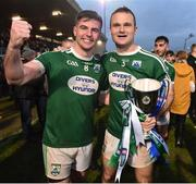 2 December 2018; Daire O'Baoill,left, and Neil McGee of Gaoth Dobhair celebrate with the Seamus McFerran cup after the AIB Ulster GAA Football Senior Club Championship Final match between Gaoth Dobhair and Scotstown at Healy Park in Tyrone. Photo by Oliver McVeigh/Sportsfile
