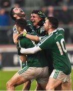 2 December 2018; Gaoth Dobhair players Odhran MacNaillais, Michael Carroll, Naoise O'Baoill and Cian Mulligan celebrate after the AIB Ulster GAA Football Senior Club Championship Final match between Gaoth Dobhair and Scotstown at Healy Park in Tyrone. Photo by Oliver McVeigh/Sportsfile