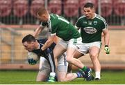 2 December 2018; Rory Beggan of Scotstown in action against James Carroll and Kevin Cassidy of Gaoth Dobhair during the AIB Ulster GAA Football Senior Club Championship Final match between Gaoth Dobhair and Scotstown at Healy Park in Tyrone. Photo by Oliver McVeigh/Sportsfile