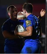 1 December 2018; Hugo Keenan of Leinster is congratulated by Bryan Byrne, left, after scoring a try during the Guinness PRO14 Round 10 match between Dragons and Leinster at Rodney Parade in Newport, Wales. Photo by Ramsey Cardy/Sportsfile