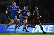 1 December 2018; Hugo Keenan of Leinster on his way to scoring a try during the Guinness PRO14 Round 10 match between Dragons and Leinster at Rodney Parade in Newport, Wales. Photo by Ramsey Cardy/Sportsfile