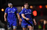1 December 2018; Max Deegan, left, and Andrew Porter of Leinster during the Guinness PRO14 Round 10 match between Dragons and Leinster at Rodney Parade in Newport, Wales. Photo by Ramsey Cardy/Sportsfile