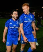 1 December 2018; Patrick Patterson, left, and Ciarán Frawley of Leinster following the Guinness PRO14 Round 10 match between Dragons and Leinster at Rodney Parade in Newport, Wales. Photo by Ramsey Cardy/Sportsfile