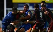 1 December 2018; Aaron Wainwright of Dragons is tackled by Caelan Doris, left, and Peter Dooley of Leinster during the Guinness PRO14 Round 10 match between Dragons and Leinster at Rodney Parade in Newport, Wales. Photo by Ramsey Cardy/Sportsfile