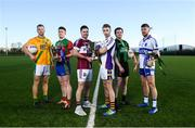 3 December 2018; In attendance, from left, Peter Kelly of Two Mile House, Nigel Dunne of Shamrocks, Shane Mulligan of Mullinalaghta St Columba's, Ross McGowan of Kilmacud Crokes, Cian O'Niaraigh of Dundalk Young Irelands and Cian Donohue of Naomh Bríd during the AIB Leinster GAA Club Football Finals Launch at the GAA Games Development Centre in Abbotstown, Dublin. Photo by David Fitzgerald/Sportsfile