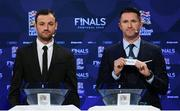 3 December 2018; Former Republic of Ireland international Robbie Keane, in the company of Republic of Ireland Cerebral Palsy captain Gary Messett, left, draws out the name of England during the UEFA Nations League Finals Draw at The Shelbourne Hotel in Dublin. Photo by Stephen McCarthy/Sportsfile