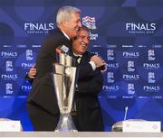 3 December 2018; Switzerland manager Vladimir Petkovic, left, and Portugal head coach Fernando Santos embrace following the UEFA Nations League Finals Draw at The Shelbourne Hotel in Dublin. Photo by Stephen McCarthy/Sportsfile