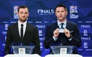 3 December 2018; Former Republic of Ireland international Robbie Keane, in the company of Republic of Ireland Cerebral Palsy captain Gary Messett, left, draws out the name of Portugal during the UEFA Nations League Finals Draw at The Shelbourne Hotel in Dublin. Photo by Stephen McCarthy/Sportsfile