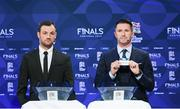 3 December 2018; Former Republic of Ireland international Robbie Keane, in the company of Republic of Ireland Cerebral Palsy captain Gary Messett, left, draws out the name of Netherlands during the UEFA Nations League Finals Draw at The Shelbourne Hotel in Dublin. Photo by Stephen McCarthy/Sportsfile