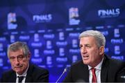 3 December 2018; Switzerland head coach Vladimir Petkovic, right, and Portugal head coach Fernando Santos during a press conference following the UEFA Nations League Finals Draw at The Shelbourne Hotel in Dublin. Photo by Stephen McCarthy/Sportsfile