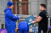 3 December 2018; Head coach Leo Cullen, left, and Cian Healy during Leinster Rugby squad training at Energia Park in Donnybrook, Dublin. Photo by Ramsey Cardy/Sportsfile