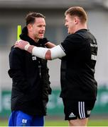 3 December 2018; Head of athletic performance Charlie Higgins, left, and Tadhg Furlong during Leinster Rugby squad training at Energia Park in Donnybrook, Dublin. Photo by Ramsey Cardy/Sportsfile
