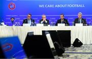 3 December 2018; UEFA Chief Refereeing Officer Roberto Rosetti, left, UEFA Deputy General Secretary Giorgio Marchetti, second from left, UEFA President Aleksander Ceferin and UEFA Communication Director Phil Townsend, right, during a UEFA Executive Committee press conference at The Shelbourne Hotel in Dublin. Photo by Stephen McCarthy/Sportsfile