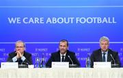 3 December 2018; UEFA President Aleksander Ceferin, with UEFA Deputy General Secretary Giorgio Marchetti, left, and UEFA Communication Director Phil Townsend, right, during a UEFA Executive Committee press conference at The Shelbourne Hotel in Dublin. Photo by Stephen McCarthy/Sportsfile