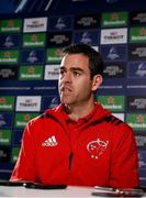4 December 2018; Head coach Johann van Graan during a Munster Rugby press conference at the University of Limerick in Limerick. Photo by Diarmuid Greene/Sportsfile