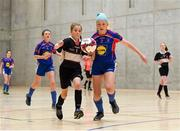 4 December 2018; Cara King of St. Attracta's Community School, Tubbercurry, Sligo, in action against Sarah Bell of Ursuline Secondary School, Thurles, Tipperary, during the Post-Primary Schools National Futsal Finals match between St. Attracta's Community School, Tubbercurry, Sligo and Ursuline Secondary School, Thurles, Tipperary, at Waterford IT Sports Arena in Waterford. Photo by Eóin Noonan/Sportsfile