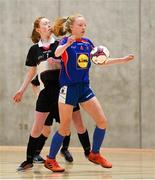 4 December 2018; Grace Fitzpatrick Ryan of Ursuline Secondary School, Thurles, Tipperary, in action against Ciara Brennan of St. Attracta's Community School, Tubbercurry, Sligo, during the Post-Primary Schools National Futsal Finals match between Ursuline Secondary School, Thurles, Tipperary, and St. Attracta's Community School, Tubbercurry, Sligo, at Waterford IT Sports Arena in Waterford. Photo by Eóin Noonan/Sportsfile