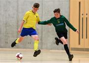 4 December 2018; Ronan Clarke of St. Louis School, Kiltimagh, Mayo, in action against Cian O'Gara of Mercy Secondary School Mounthawk, Tralee, Kerry, during the Post-Primary Schools National Futsal Finals match between St. Louis School, Kiltimagh, Mayo, and Mercy Secondary School Mounthawk, Tralee, Kerry, at Waterford IT Sports Arena in Waterford. Photo by Eóin Noonan/Sportsfile