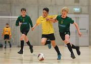 4 December 2018; Odhran Ferris of Mercy Secondary School, Tralee, Kerry, in action against Altay Guneyer of St. Mary's Diocesan School, Drogheda, Louth, during the Post-Primary Schools National Futsal Finals match between Mercy Secondary School, Tralee, Kerry and St. Mary's Diocesan School, Drogheda, Louth at Waterford IT Sports Arena in Waterford. Photo by Eóin Noonan/Sportsfile