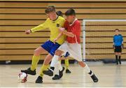 4 December 2018; Jonathan Houlihan of St. Louis Community School, Kiltimagh, Mayo, in action against Conor McGinty of St. Columba's College, Stranorlar, Donegal, during the Post-Primary Schools National Futsal Finals match between St. Louis Community School, Kiltimagh, Mayo and St. Columba's College, Stranorlar, Donegal at Waterford IT Sports Arena in Waterford. Photo by Eóin Noonan/Sportsfile