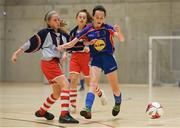 4 December 2018; Kate Carr of Ursuline secondary school, Thurles, Tipperary, in action against Sophie O'Hagan of Coláiste Chiaráin, Leixlip, Kildare, during the Post-Primary Schools National Futsal Finals match between Ursuline secondary school, Thurles, Tipperary and Coláiste Chiaráin, Leixlip, Kildare at Waterford IT Sports Arena in Waterford. Photo by Eóin Noonan/Sportsfile