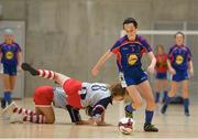 4 December 2018; Kate Carr of Ursuline secondary school, Thurles, Tipperary, in action during the Post-Primary Schools National Futsal Finals match between Ursuline secondary school, Thurles, Tipperary and Coláiste Chiaráin, Leixlip, Kildare at Waterford IT Sports Arena in Waterford. Photo by Eóin Noonan/Sportsfile