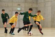4 December 2018; Noah Townsend of Mercy Secondary School, Tralee, Kerry, in action against Lorcan Lynch of St. Mary's Diocesan School, Drogheda, Louth, during the Post-Primary Schools National Futsal Finals match between Mercy Secondary School, Tralee, Kerry and St. Mary's Diocesan School, Drogheda, Louth at Waterford IT Sports Arena in Waterford. Photo by Eóin Noonan/Sportsfile