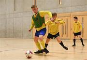 4 December 2018; Jonathan Houlihan of St. Louis Community School, Kiltimagh, Mayo in action against Jake Hough of St. Mary's Diocesan School, Drogheda, Louth during the Post-Primary Schools National Futsal Finals match between St. Louis Community School, Kiltimagh, Mayo and St. Mary's Diocesan School, Drogheda, Louth at Waterford IT Sports Arena in Waterford. Photo by Eóin Noonan/Sportsfile