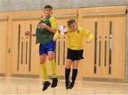 4 December 2018; Ronan Clarke of St. Louis Community School, Kiltimagh, Mayo in action against Jake Hough of St. Mary's Diocesan School, Drogheda, Louth during the Post-Primary Schools National Futsal Finals match between St. Louis Community School, Kiltimagh, Mayo and St. Mary's Diocesan School, Drogheda, Louth at Waterford IT Sports Arena in Waterford. Photo by Eóin Noonan/Sportsfile
