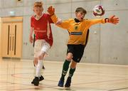 4 December 2018; Ross Bradley of St. Columba's College, Stranorlar, Donegal in action against Oran Murphy of Mercy Secondary School, Tralee, Kerry during the Post-Primary Schools National Futsal Finals match between /St. Columba's College, Stranorlar, Donegal and Mercy Secondary School, Tralee, Kerry at Waterford IT Sports Arena in Waterford. Photo by Eóin Noonan/Sportsfile