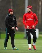 4 December 2018; Ian Keatley, left, and Conor Murray during Munster Rugby squad training at the University of Limerick in Limerick. Photo by Diarmuid Greene/Sportsfile