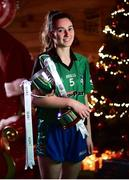 4 December 2018; Nicole Rooney, captain of Emmet Óg, with the Ladies All-Ireland Intermediate Club Trophy during the 2018 All-Ireland Ladies Club Football Finals Captains Day at Croke Park in Dublin. Photo by David Fitzgerald/Sportsfile