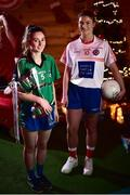 4 December 2018; Captains, Nicole Rooney of Emmet Óg, left, with the Ladies All-Ireland Intermediate Club Trophy and Sarah Murphy of Clontarf during the 2018 All-Ireland Ladies Club Football Finals Captains Day at Croke Park in Dublin. Photo by David Fitzgerald/Sportsfile