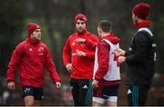 4 December 2018; Duncan Williams, left, Conor Murray, centre, and Andrew Conway in conversation during Munster Rugby squad training at the University of Limerick in Limerick. Photo by Diarmuid Greene/Sportsfile